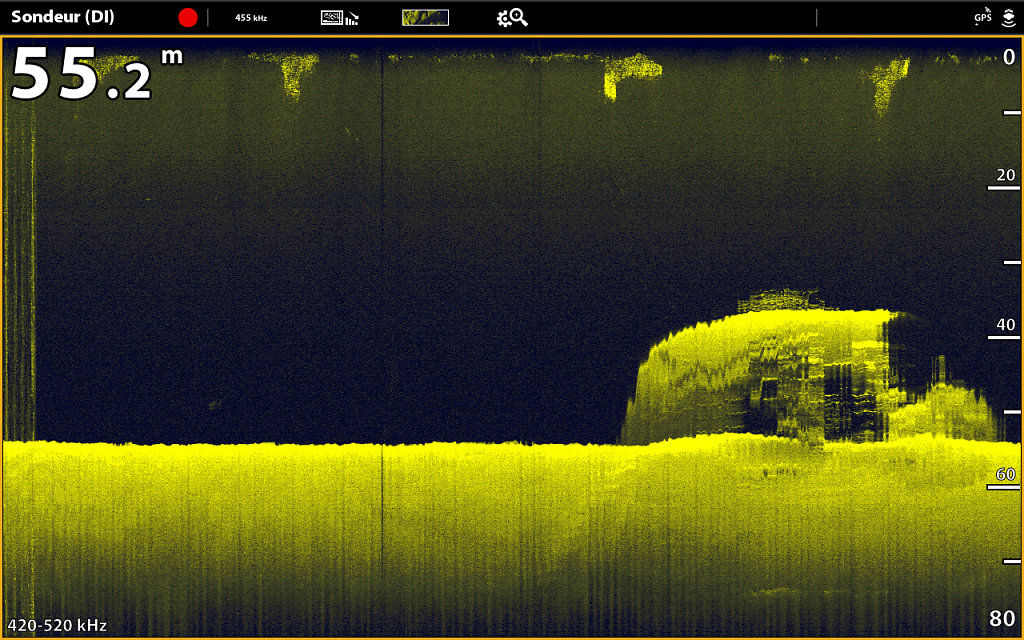 Epave d'un bateau en Down imaging